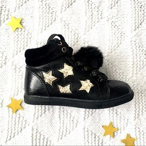 Gold Star Black High Top Sneakers